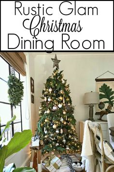 A holiday home tour with 4 other bloggers where I'm sharing our Christmas dining room, decorated with rustic glam touches. #ChristmasDecor #ChristmasTree #christmasdiningroom g