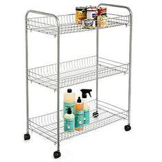 """Silver 3-Tier Grande Rolling Cart, under 12"""" span of countertop???"""