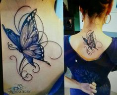 Amazing neck butterfly tattoo