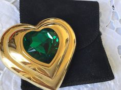 Rare limited edition Vintage YSL green jewelled heart shaped powder compact 1987 by VINTAGEwithaSMILE on Etsy