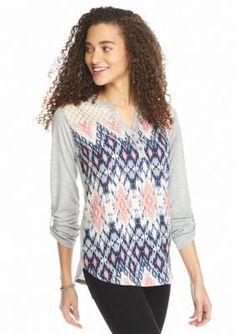 Jolt  Diamond Print Knit Henley