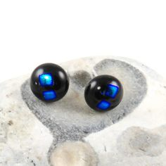dichroic glass black and blue stud earrings £8.00