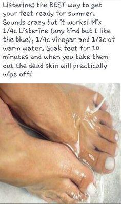 Listerine to get rid of dead skin. + other tips Beauty Care, Diy Beauty, Beauty Skin, Beauty Hacks, Skin Treatments, Listerine, Soft Feet, Do It Yourself Home, Skin Care