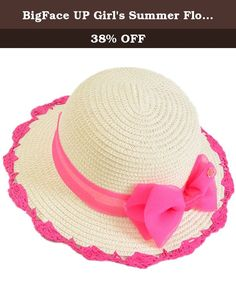 """BigFace UP Girl's Summer Floppy Straw Sun Protection Lace Bow Beach Hats(Beige with rose red bowtie). This little girl's tea party hat is perfect for that special little someone looking to enjoy her childhood to the fullest. Secure those amazing memories by presenting her with such a beautiful gift! One size Material: Straw.good durability Popular element: bow Hat circumference: 20.5"""", brim width:2.1"""" Notes: This hat size information is just for reference only. Color of pictures may vary…"""