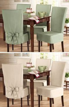 Sure- Fit Cotton Dining Chair Slip Cover Short Sage for breakfast chair cover sample will give a different view of the dining room - Home And GardenDiy Home Decor Dollar StoreComfy Oversized Chair With OttomanThis Pin was discovered by ana Dining Room Chair Covers, Seat Covers For Chairs, Dining Chair Slipcovers, Dining Room Chairs, Office Chairs, Slip Cover Dining Chairs, Dining Table, Furniture Covers, Diy Furniture