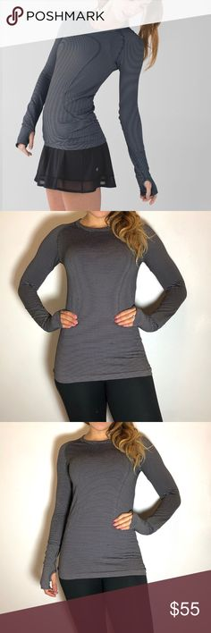 Lululemon Swiftly Tech Long Sleeve Lululemon Swiftly Tech Long Sleeve in Tempo Stripe Black White. -Size 6. -Excellent condition. Has a few snags on back, as pictured.   NO Trades. Please make all offers through offer button. lululemon athletica Tops Tees - Long Sleeve