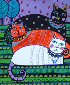 Cat Folk Art Print Poster of Painting by Heather Galler Black Cat Ginger Cat White Cat Modern Abstract Landscape. $24.00, via Etsy.