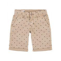 Boy's beige bermuda with blue polka-dots SUN68 SS15 KIDS #SUN68 #SS15 #kids #boy #bermuda