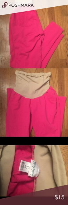 Pink maternity jeans Jeans are like a cotton/jegging material. Super soft and comfy!! Full panel belly makes these soo amazing! Motherhood Maternity Pants Leggings