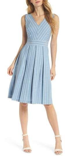 ad6b948f563c Gal Meets Glam Collection Slub Stripe Fit & Flare Dress #fashion  #onlineshopping #ad
