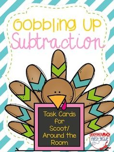 Included in this download are task card that can be used for centers, scoot, or around the room. Also included is a blank turkey with three options for feathers. Option 1: Subtraction facts with minuends less than 10Option 2: Over 10Option 3: Write your own factsE-mail me at geauxfirstgrade@gmail.com with any questions!
