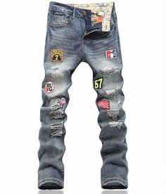 (39.10$)  Know more - http://aiyay.worlditems.win/all/product.php?id=32775127814 -   Fashion New  Vovelty Hole Designer Man Patches Appliques Trousers Slim Maxi Denim Jeans