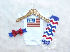 Cute baby girl fourth of July outfit w/ American flag. Super soft poly/cotton blend customized clothes for baby's first 4th of July. Satisfaction guaranteed!!