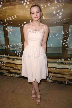 Dove Cameron blush dress at Ted Baker London SS 2016 Launch Event. Lace and chiffon short sweet 16 dress.