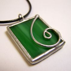 Sage Swirl  Stained Glass Pendant with Black Cord by faerieglass