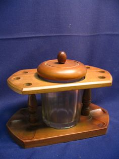 pipe stand tobacco humidor pipe holder maple wood 1960s