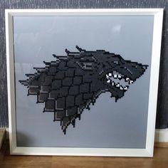Framed Stark wolf - Game of Thrones perler beads by Sprite Planet