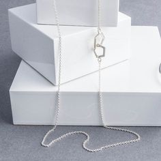 Delicate layers and minimal style | Long Sterling Silver Geometric Pentagon Necklace - Tulip Jewellery