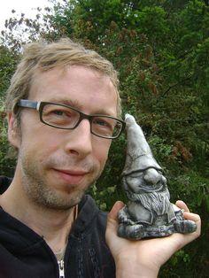Gnome Concrete Garden Sculpture, Mini Meditating Gnome. $22.00, via Etsy.