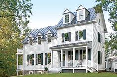 16 Ideas farmhouse style exterior metal roof southern living for 2019 Southern Living, Southern House Plans, Southern Homes, Country Living, White Farmhouse, Farmhouse Style, Farmhouse Plans, Farmhouse Windows, French Farmhouse
