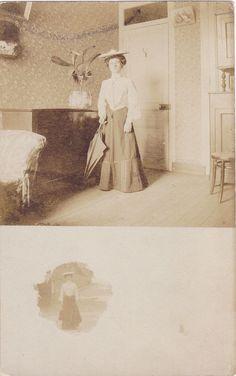 My Humble Home- 1900s Antique Photograph- Edwardian Woman- Apartment Interior- Shirtwaist Dress- Real Photo Postcard- RPPC- Paper Ephemera