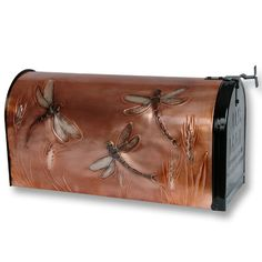 Dragonfly Post Mount Copper Mailbox