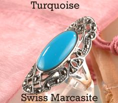 SIZE 8 Finely Made Sterling Silver Turquoise Swiss Marcasite Women Ring ST-175