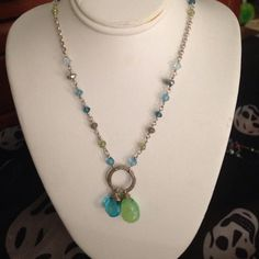 Chalcedony and topaz double drop necklace sterling Cute summery necklace in sterling silver with apple green chalcedony, Swiss blue topaz, mixed gems Swarovski crystals and pearls. Hangs about 17-18 inches adjustable-ish length.. all sterling. Emily designs Jewelry Necklaces