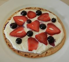 Shelly's Red, White & Blue Fruit Pizza - Shelly's Red, White & Blue Fruit Pizza - Bariatric Eating, Bariatric Recipes, Bariatric Surgery, High Protein Low Carb, High Protein Recipes, Protein Foods, Diet Foods, Sugar Cookie Pizza, Kohlrabi Recipes