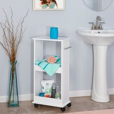 RiverRidge Home Rolling Side Cabinet with Shelves   Hayneedle