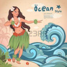 Vector Retro Style Hawaiian Beautiful Hula Girl Royalty Free Cliparts, Vectors, And Stock Illustration. Image 38620320.