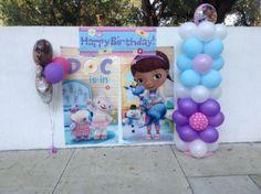 Balloon column, picture area, picture back drop, Doc McStuffins shellysdecor4you@gmail.com #Birthdays #BabyShowers #Graduations etc...