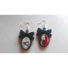 Nightmare before Christmas Jack and Sally Cameo Earrings ($8.76) ❤ liked on Polyvore featuring jewelry, earrings, cameo earrings, fish hook jewelry, earrings jewelry, christmas jewelry and cameo jewelry