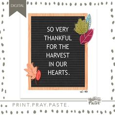 Harvest in Our Hearts Print - Illustrated Faith 50 Words, Word Nerd, Faith Bible, Illustrated Faith, Frame It, Heart Print, Planner Stickers, Ephemera, Harvest