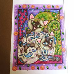 #wearesiamese #creativecats #creativehaven #marjoriesarnat #adultcoloringbooks #adultcoloring #prismacolor #prismacolorpremier #coloring #goodfengshui #goodfengshuicolour