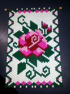 This Beaded Rose Banner is approx. Looks great hanging on the wall or an entrance door. Can hang in a window and can be seen from both sides. Pony Bead Patterns, Beaded Jewelry Patterns, Peyote Patterns, Beading Patterns, Pony Bead Crafts, Seed Bead Crafts, Beaded Crafts, Seed Bead Flowers, Beaded Flowers
