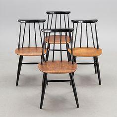 """ILMARI TAPIOVAARA, tuoleja 4 kpl """"Fanetti"""" valmistaja Asko 1900-luvun puoliväli. Furnitures, Industrial Style, Finland, Art History, Dining Chairs, Interiors, Architecture, Classic, Home Decor"""