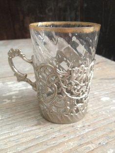Silver tea cup holder w/gold rimmed glass FleaingFrance Brocante