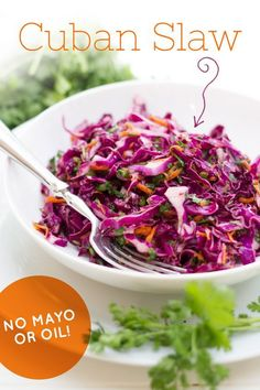 This super healthy, bright and colorful Cuban Slaw is both oil- and mayo-free! It's packed with layered, intense flavor and is a fun dish for get togethers or weeknight dinners. Slaw Recipes, Cuban Recipes, Veggie Recipes, Vegetarian Recipes, Cooking Recipes, Healthy Recipes, Cuban Cuisine, Clean Eating, Healthy Eating