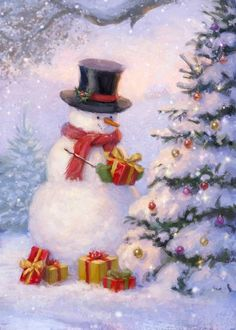 Leading Illustration & Publishing Agency based in London, New York & Marbella. Christmas Scenery, Vintage Christmas Cards, Christmas Pictures, Christmas Snowman, Winter Christmas, Christmas Time, Christmas Crafts, Christmas Decorations, Illustration Noel