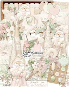 A beautiful digital Christmas kit for your scrapbooking and card making ideas! FQB - Linen and Lace Collection by Nitwit Collections™