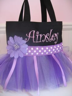 Embroidered Dance Bag - Mini Princess Purple Tutu Tote Bag. $19.00, via Etsy.