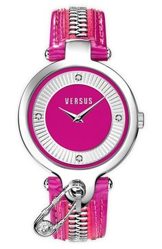 VERSUS by Versace 'Key Biscane' Zip Detail Leather Strap Watch, 38mm available at #Nordstrom