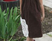 Retro Used Brown Corduroy girls jumper w/applique flowers sz 5 - $15.00