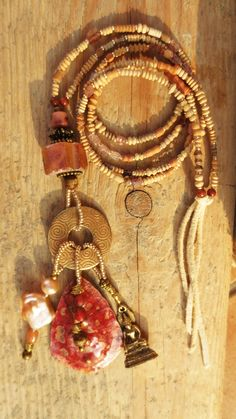 talisman tribal necklace natural copper brass gems ancient african clay beads pearls buddha