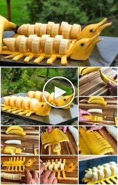 DIY Banana Dolphins Step by Step Tutorial - Food Carving Ideas : DIY Banana Dolphins Step by Step Tutorial - Food Crafts, Diy Food, Kreative Snacks, Fruits Decoration, Comida Diy, Food Art For Kids, Creative Food Art, Creative Ideas, Vegetable Carving