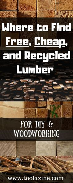 Where to Find Free, Cheap, and Recycled Lumber for DIY & Woodworking. - - Where to Find Free, Cheap, and Recycled Lumber for DIY & Woodworking. Including some great easy options. Woodworking Patterns, Easy Woodworking Projects, Popular Woodworking, Diy Pallet Projects, Woodworking Furniture, Fine Woodworking, Wood Furniture, Youtube Woodworking, Woodworking Machinery