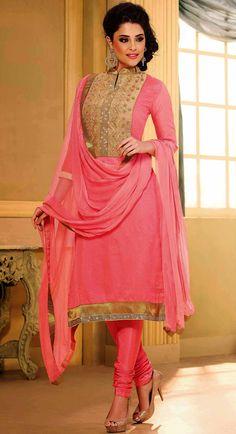 USD 25.46 Pink Chanderi Churidar Suit 44468