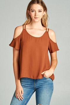 Burnt Orange Open Shoulder Short Sleeve Top - Longhorn Fashions