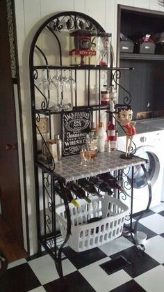 Bakeru0027s Rack converted into liquor storage/bar. Originally hunter green now spray painted black with decorative contact paper covering wood shelf. & Bakers Rack Restyle with Martha Stewart Paints and Stencils ...